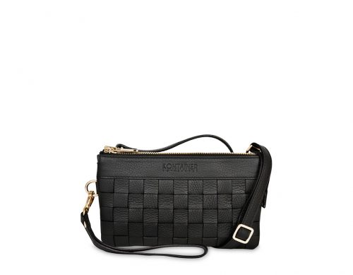 Black Love Mini Clutch - The Mini Clutch comes with a long shoulder strap which you can easily attach or detach in the hidden back pocket as you wish.