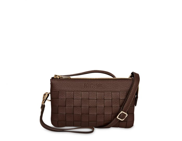 Mocha Chocolate Mini Clutch - Inside the mini clutch is lined with our signature cotton print. Although the small size of the Mini Clutch, it is spaciously designed with a room designated to carry your phone as well as separate credit card holder and zip pocket.