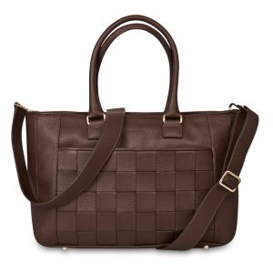 Mocha Chocolate Shopper -The Shopper has many smaller pockets for you to well-organize pens and smaller items as well as a zipper pocket and key chain.