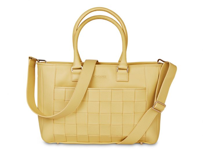 Yellow Mellow Shopper - The Shopper has many smaller pockets for you to well-organize pens and smaller items as well as a zipper pocket and key chain.