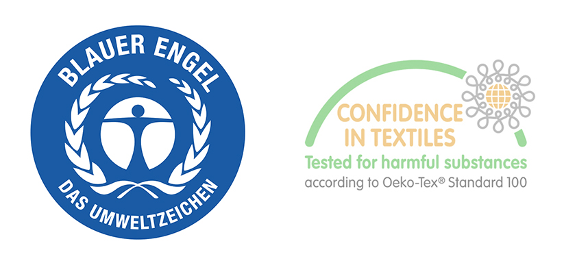 Blue Angel and Oeko-Tex sustainability certifications